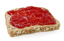 Multigrain sandwich with strawberry jam Royalty Free Stock Image