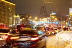 Multikilometer ruchu drogowego dżemy na drogach Obraz Stock