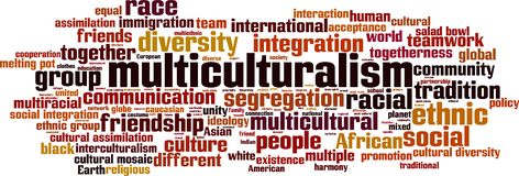 Multikulturalismuswortwolke stock abbildung