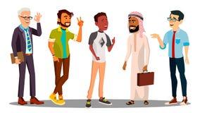 Multikulturelle Gruppe des Mann-zusammen Vektors Abbildung lizenzfreie abbildung