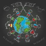 Multikulturelle Kinder auf Planetenerde Stockfotos