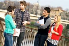 Multikulturelle Studenten am Park stockfotografie
