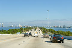 Multilane highway in Miami Royalty Free Stock Photos