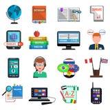 Multilanguage tłumacza ikony Kolorowy Płaski set Obrazy Stock