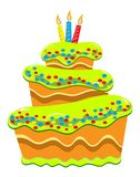Multilayer Cake with Candles Royalty Free Stock Photos
