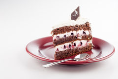 Multilayer cake on plate with spoon Stock Image