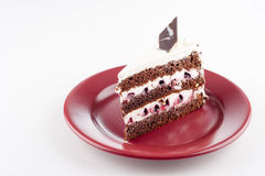 Multilayer cake on plate Royalty Free Stock Images
