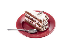 Multilayer cake on plate Royalty Free Stock Photos