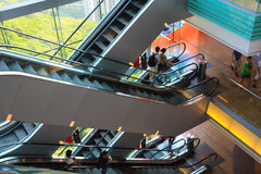 Multilayer escalator in the modern building Royalty Free Stock Photo