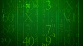 Digits in Holographic Cyberspace. A multilayered 3d illustration of soaring numbers of Latin and Arabic origin put in the green cyberspace. They are of various Stock Photography