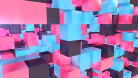Holographic Cubes Illustration. A multilayered 3d rendering of a multidimentional and multicolored cubes placed in a cyberscape with numerous empty spaces. The Royalty Free Stock Photos