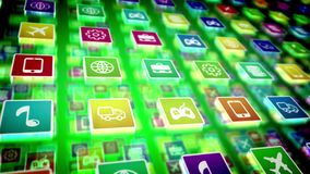 Holographic Mobile Application Icons. A multilayered 3d rendering of salient mobile application icons on a pc screen located diagonally. The icons are square and Stock Photo