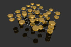 Multilayered network. Abstract rendering of a symbolic multilayered network Royalty Free Stock Photo