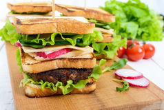 Multilayered sandwiches with a juicy cutlet, cheese, radish, cucumber, lettuce, arugula on a cutting board Stock Image