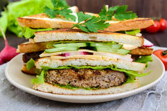 Multilayered sandwiches with a juicy cutlet, cheese, radish, cucumber, lettuce, arugula. Cutting in half on a plate on a dark wooden background. Close up Stock Photography