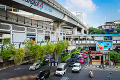 Multilevel Bangkok with traffic on street, pedestrian and SkyTra Stock Photos