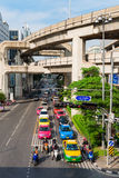 Multilevel Bangkok with traffic on street and SkyTrain tracks Stock Images