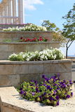 Multilevel flowerbed on a street Royalty Free Stock Photography