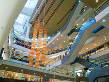 Multilevel mall interior. During sale Royalty Free Stock Image