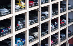 Multilevel parking place. With many cars in European city Royalty Free Stock Photography