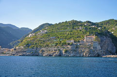 Multilevel settlement on the cliffs of the Amalfi coast and beau Stock Photo