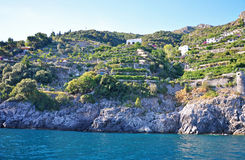 Multilevel settlement on the cliffs of the Amalfi coast Royalty Free Stock Photos