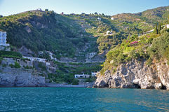 Multilevel settlement on the cliffs of the Amalfi coast Stock Image