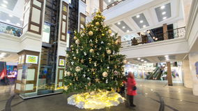 Multilevel shopping mall interior decorated with christmas tree timelapse hyperlapse. Multilevel shopping mall interior decorated with decorated christmas tree stock video footage