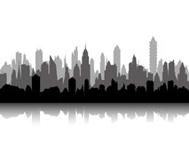 Multilevel sylwetka pejzaż miejski Obraz Stock