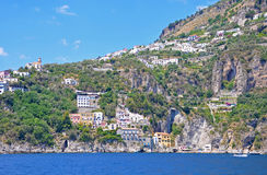 Multilevel town on the cliffs of the Amalfi coast Royalty Free Stock Images