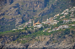 Multilevel towns on the cliffs of the Amalfi coast Stock Photos