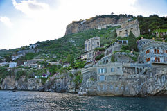 Multilevel towns on the cliffs of the Amalfi coast Royalty Free Stock Image