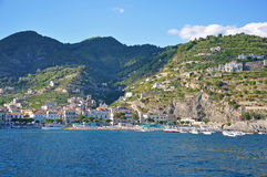 Multilevel towns on the cliffs of the Amalfi coast Royalty Free Stock Photo