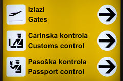 Multilingual Airport signs Royalty Free Stock Photo