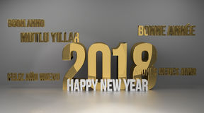 Multilingual 2018 golden 3d render. Graphic Royalty Free Stock Photography