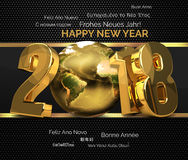 Multilingual 2018 golden symbol happy new year 3d render.  Stock Image