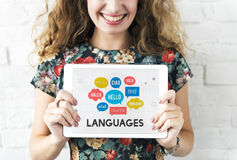 Multilingual Greetings Languages Technology Concept Stock Photography