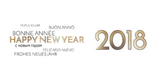 2018 multilingual happy new year background golden font. Graphic modern design Royalty Free Stock Images