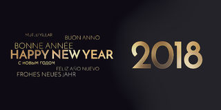 Multilingual happy new year background golden font. Graphic modern design Royalty Free Stock Photography