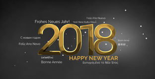 Multilingual happy new year 3d render background Royalty Free Stock Images