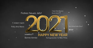 Multilingual happy new year 3d render background Royalty Free Stock Image