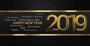 Multilingual happy new year 3d render background. Illustration graphic Stock Photography