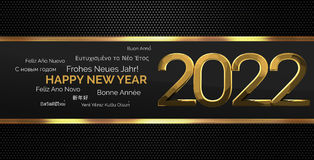 Multilingual happy new year 3d render background. Illustration graphic Royalty Free Stock Photos