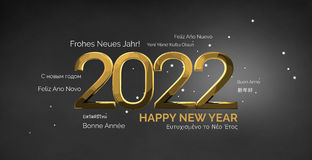 Multilingual happy new year 3d render background. Illustration graphic Royalty Free Stock Image