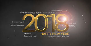 Multilingual happy new year 3d render background. Illustration graphic Stock Image