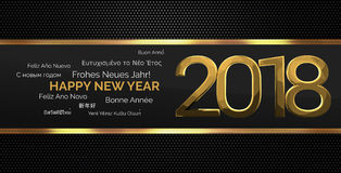 Multilingual happy new year 3d render background. Illustration graphic Stock Photo