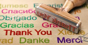 Multilingual Message Of Thanks, Using English, German, Spanish and French Languages stock photo
