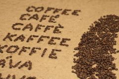 Multilingual word coffee at angle Stock Image