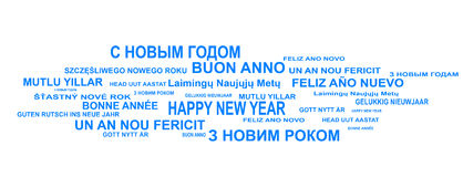 Multilingual. Year's new shape backgrounds, blu year holiday Royalty Free Stock Images