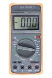 Multimètre de Digital noir avec le pare-chocs orange, vue de face Image stock